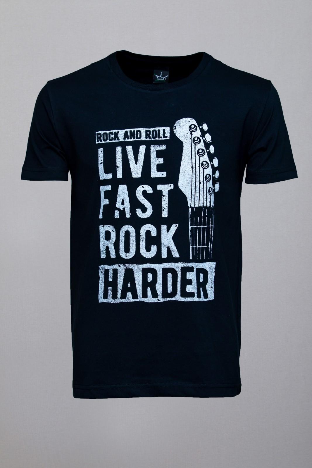 Camiseta CoolWave Live, Fast, Rock, Harder Preta