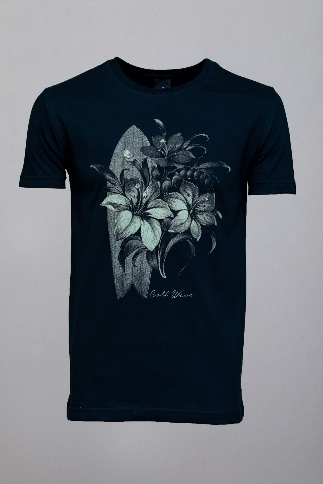 Camiseta CoolWave Surfboard and Flowers Preta
