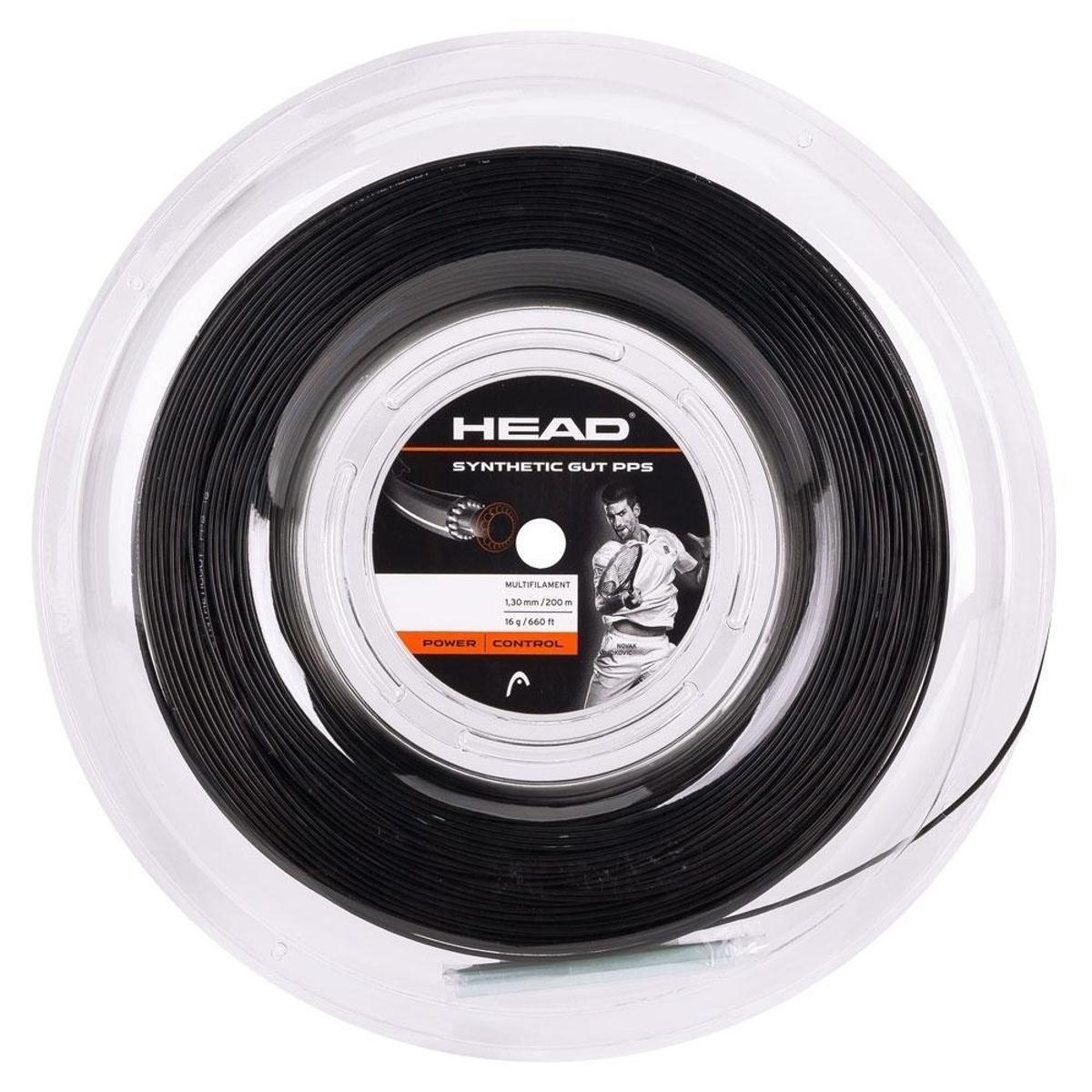 Corda de Tenis Head Synthetic GUT PPS 1.30MM Preta Rolo com 200M