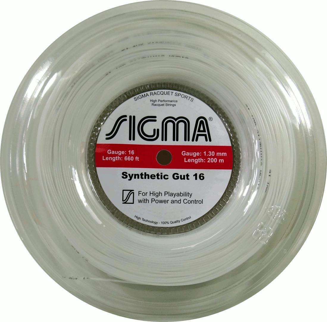 Corda de Tenis Sigma Synthetic GUT 1,30MM Rolo 200M Branca
