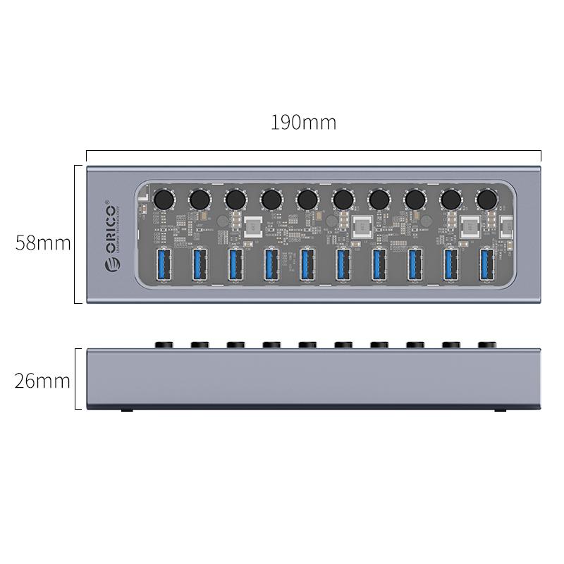 Hub 10 portas com switches individuais AT2U3-10AB