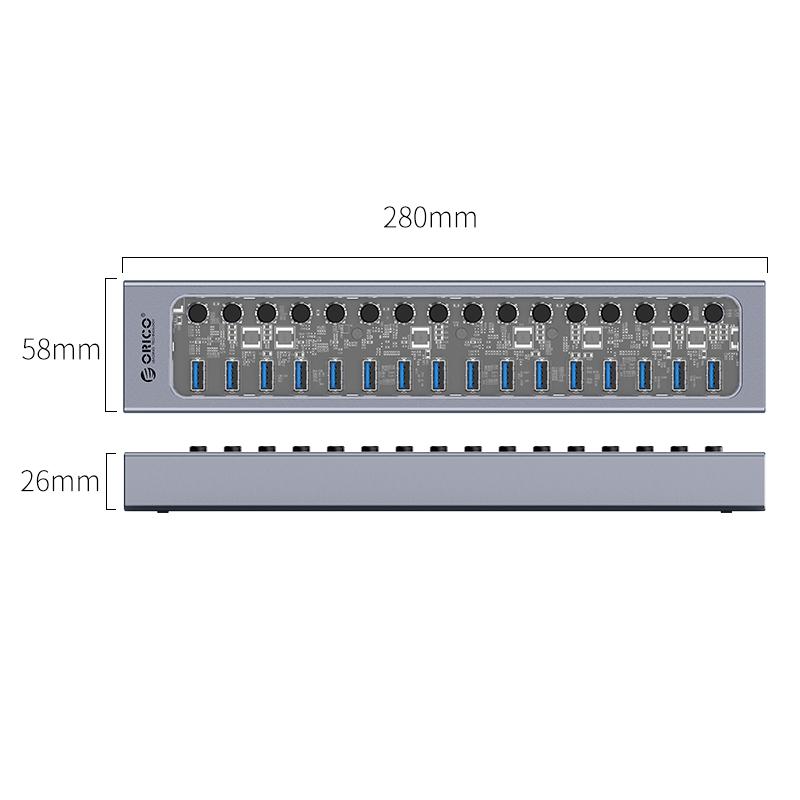 Hub 16 portas com switches individuais AT2U3-16AB