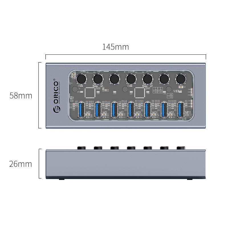 Hub 7 portas com switches individuais AT2U3-7AB