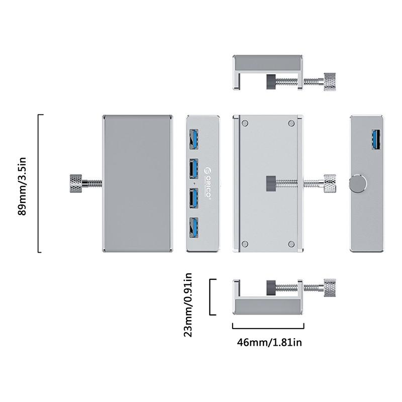 Hub em Aluminio 4 Portas USB 3.0 com Adaptador Clipe - MH4PU