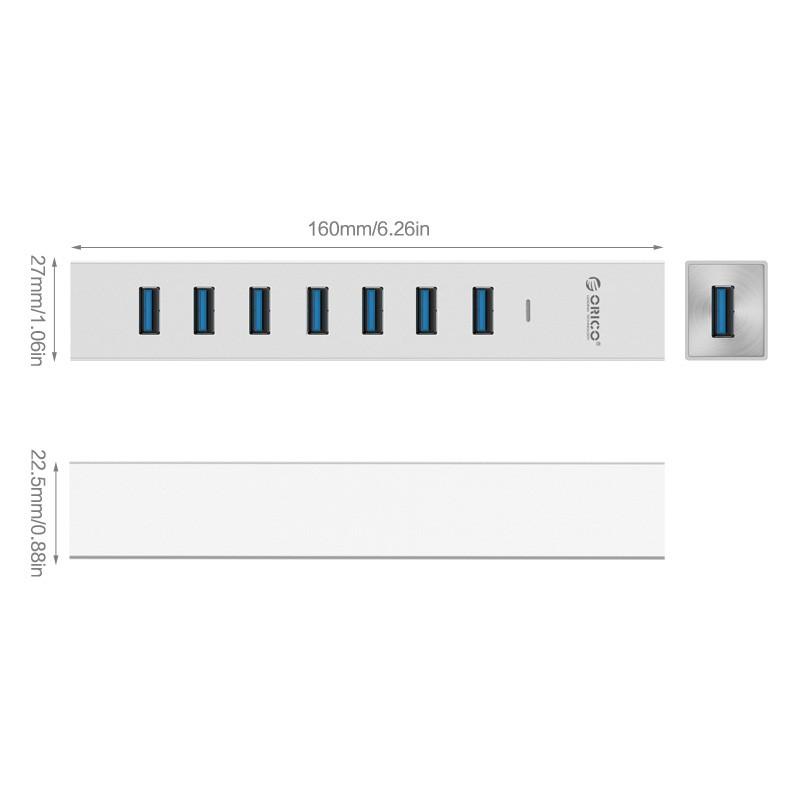 Hub USB 3.0 em Aluminio com Fonte 5V - 7 Portas - ASH7-U3