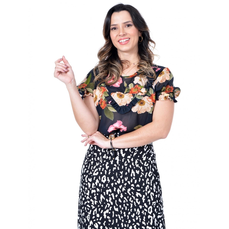 blusa em crepe floral