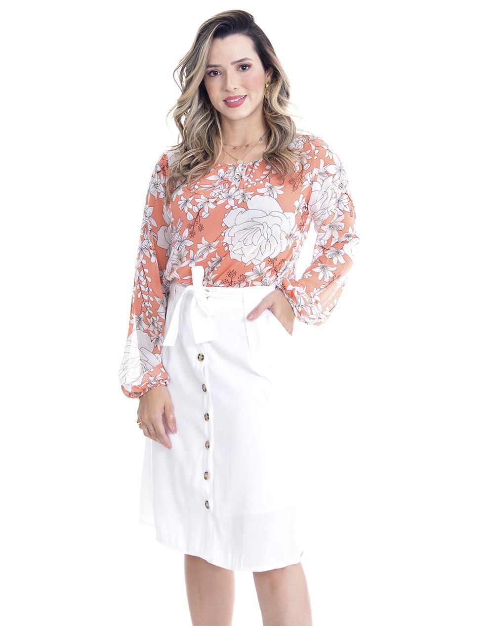 Camisa em crepe estampa floral