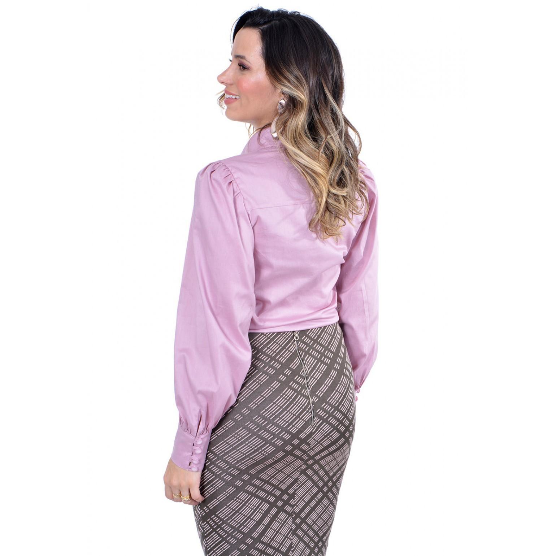 camisa em tricoline, modelagem justa