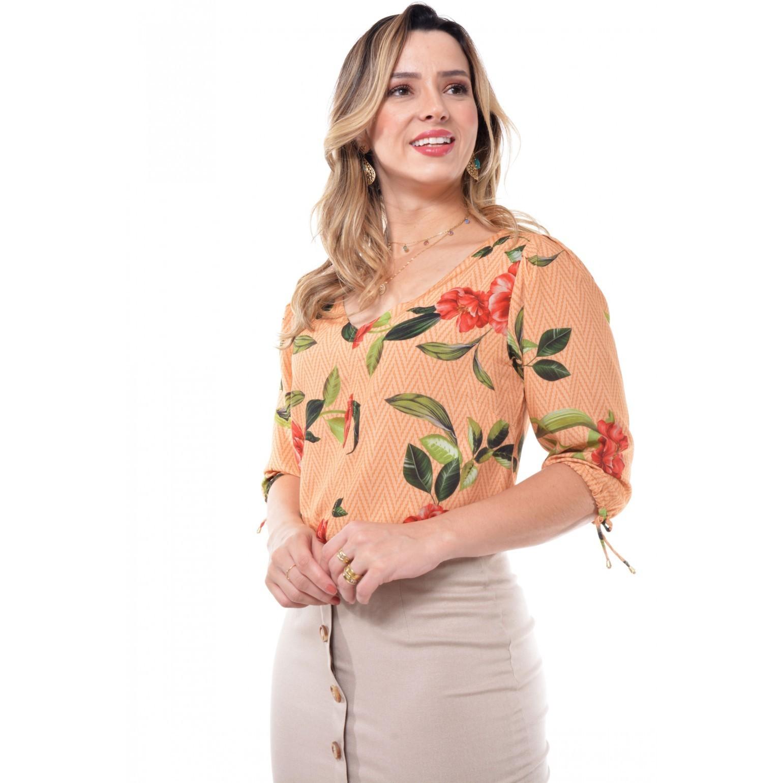 camisa em viscose floral