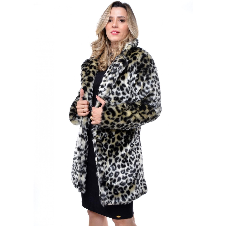 casaco de pele sintetística onça