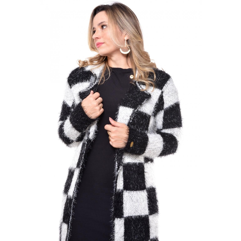 casaco xadrez em tricot persa