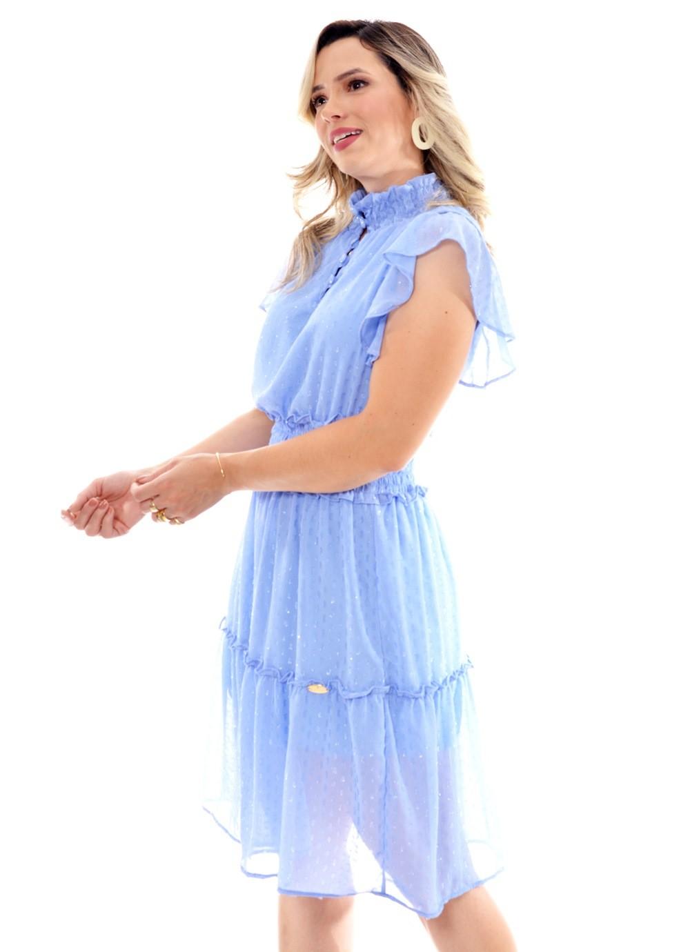 Vestido crepe, poás com lurex