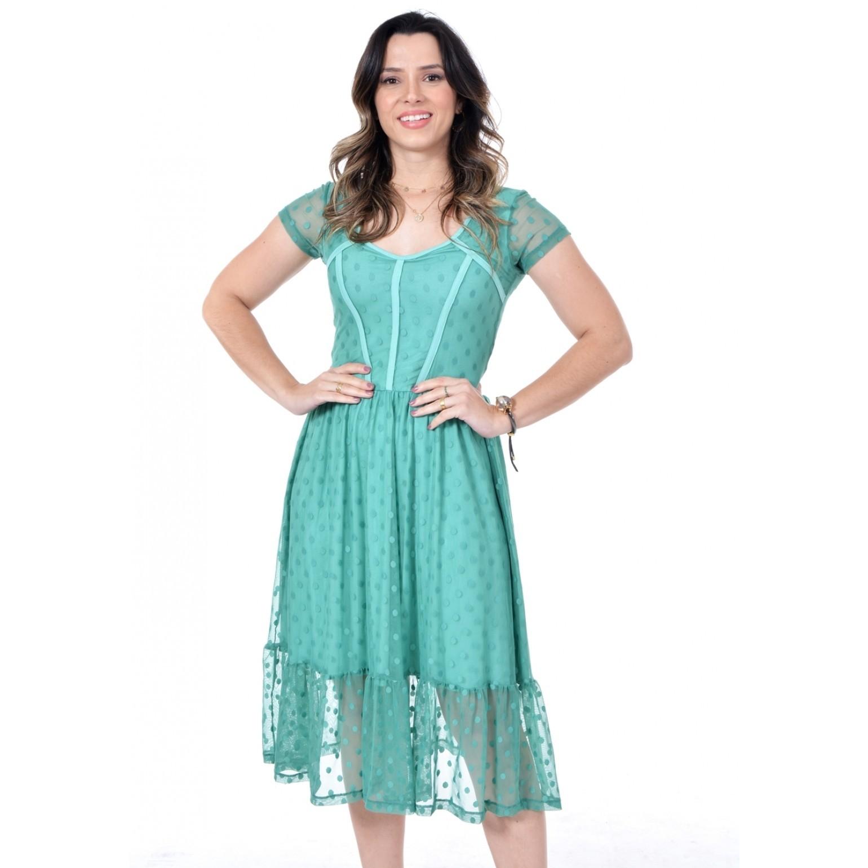 vestido de tule, modelagem acinturada