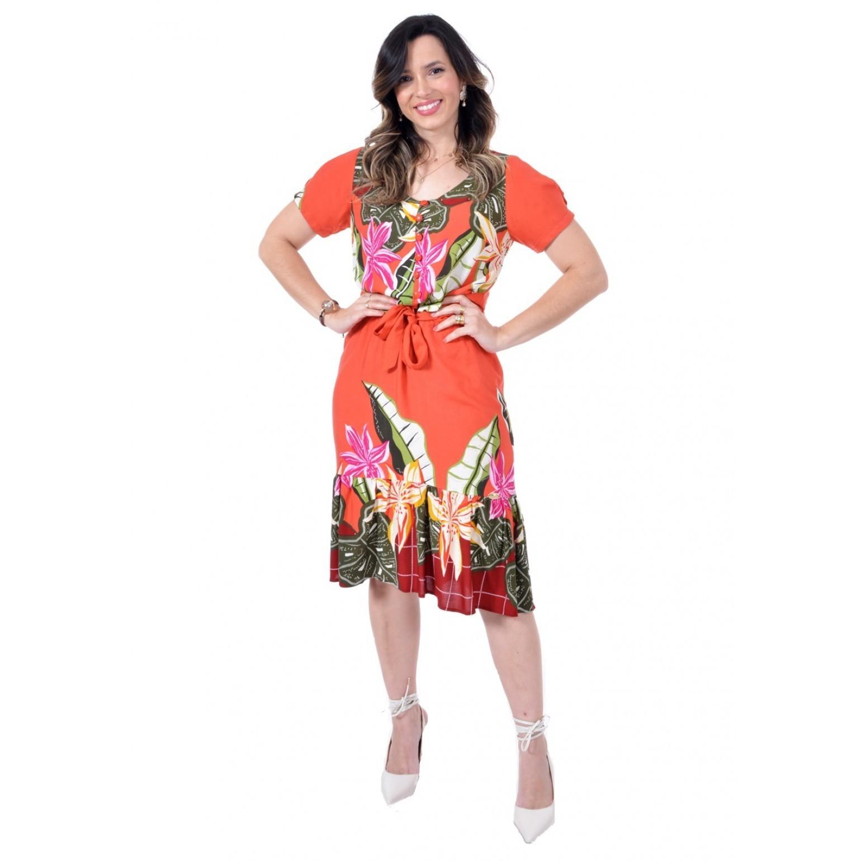 vestido de viscose barrada