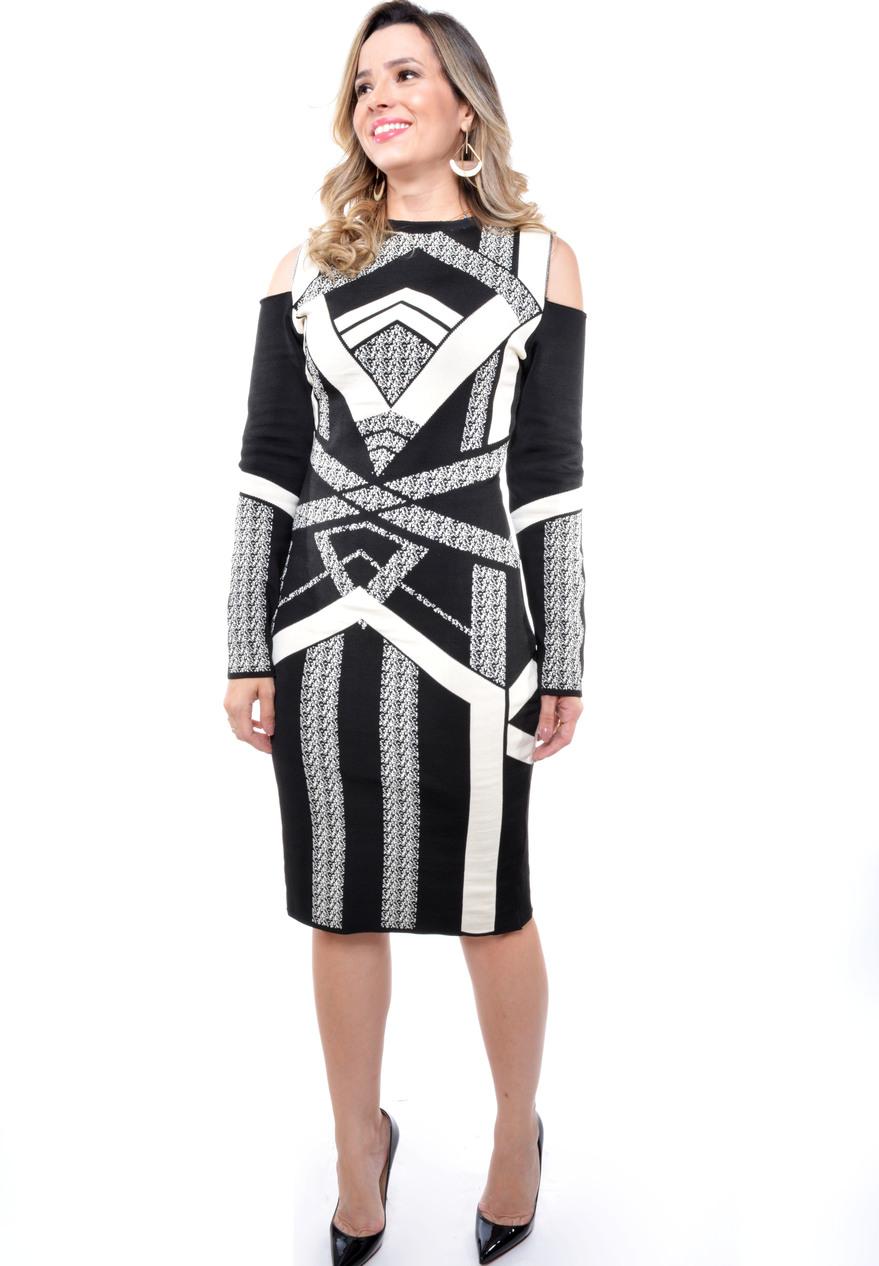 vestido em bandagem de tricot