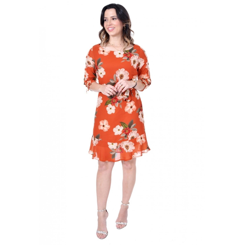 vestido em crepe floral