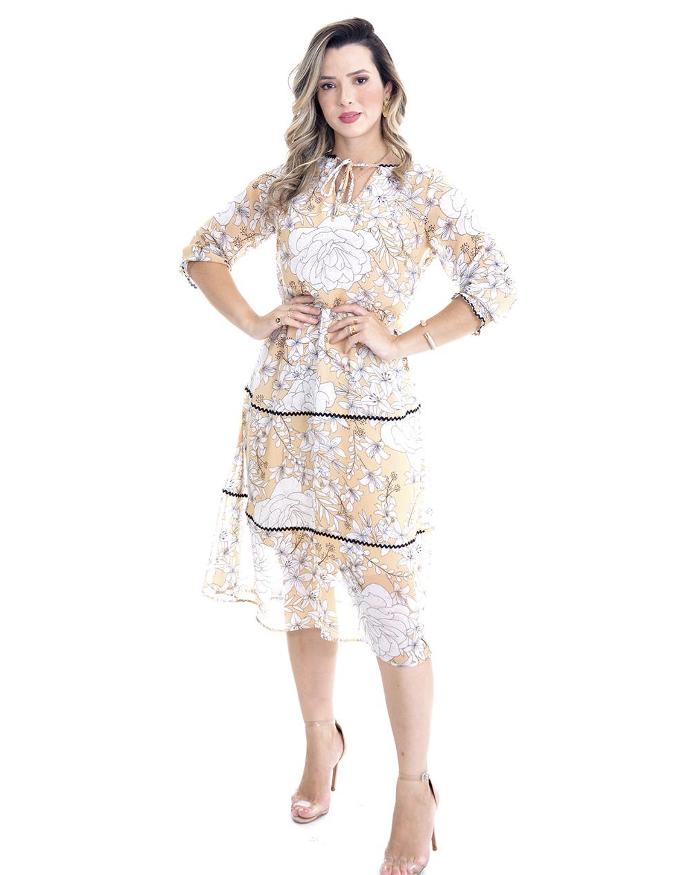 Vestido em crepe floral, modelagem midi