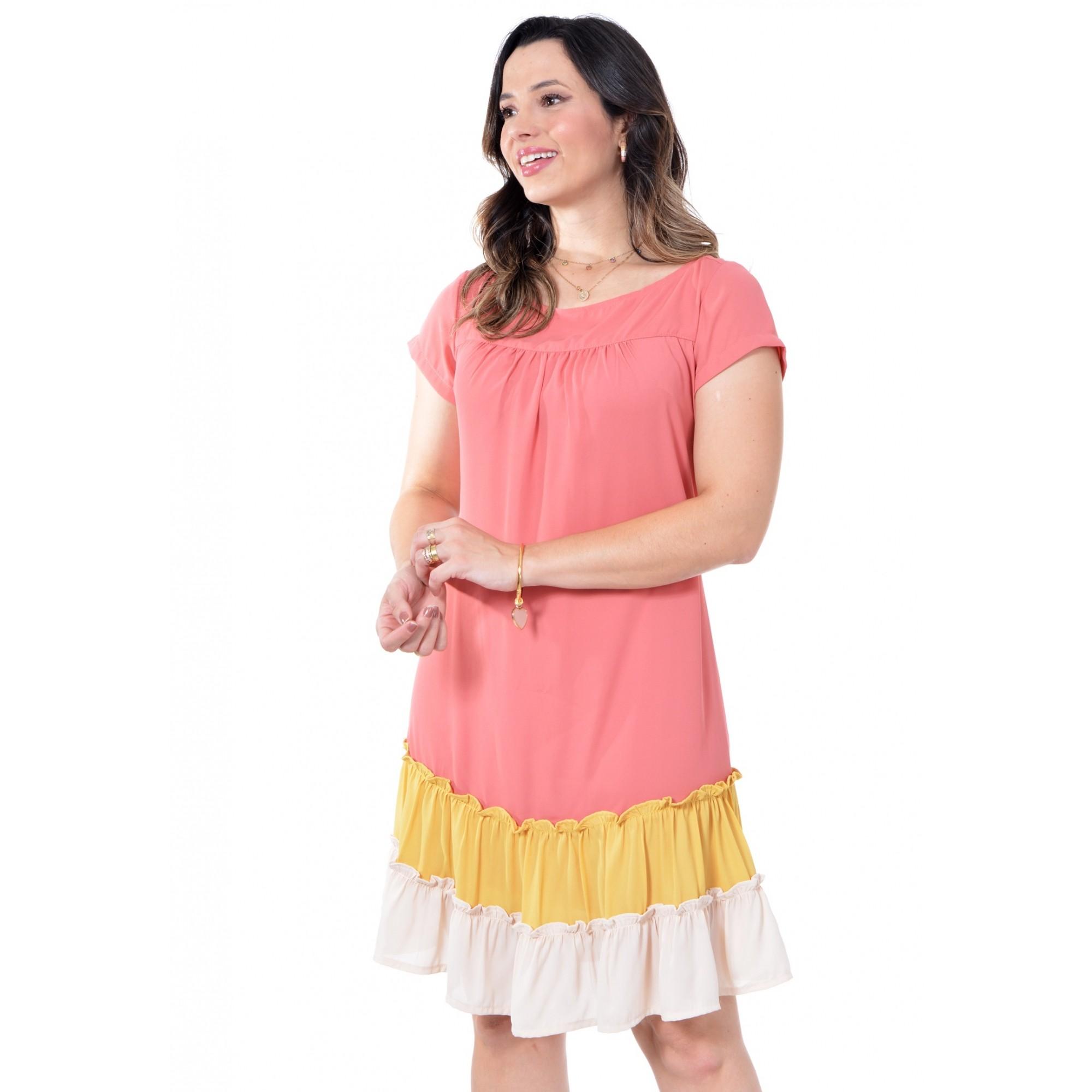 Vestido em crepe tricolor