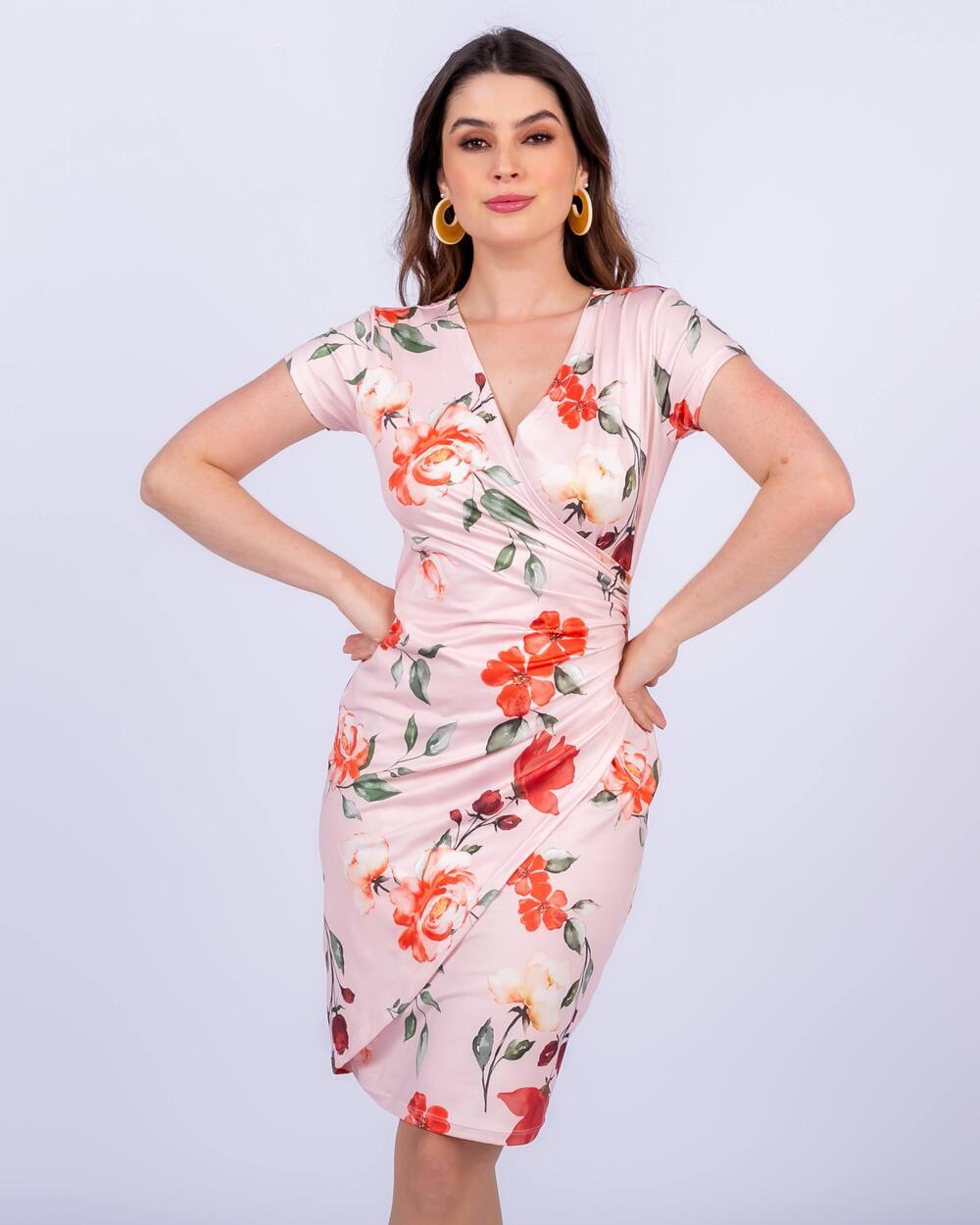 Vestido em Malha Floral com Transpasse