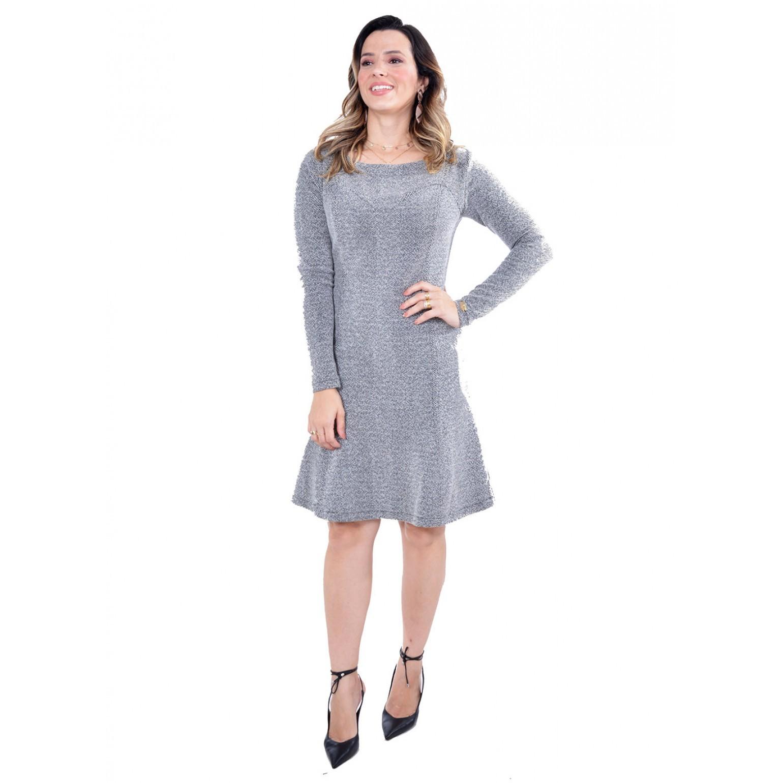 Vestido em Malha Jacquard, Modelagem Evasê