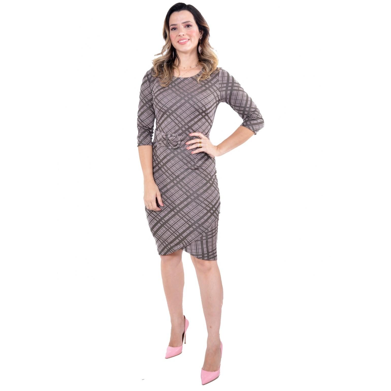 Vestido em Malha Jacquard, Modelagem Justa