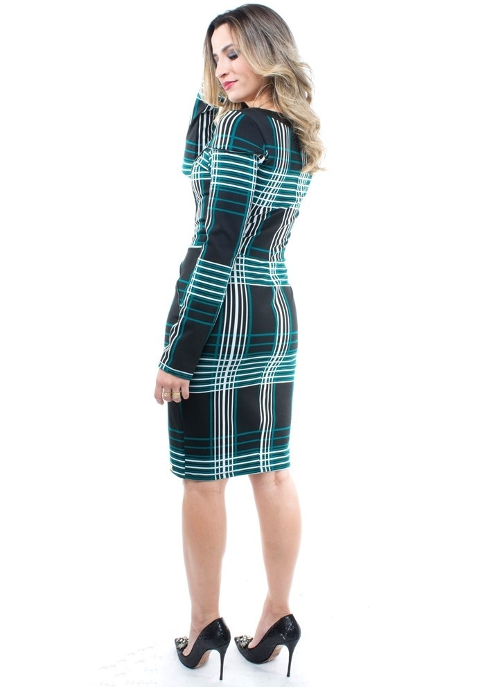 vestido em malha jacquard xadrez