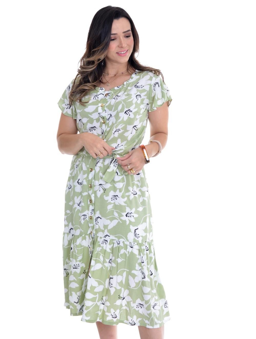 Vestido em midi em viscose floral