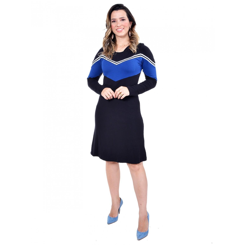 vestido em moletinho bicolor, modelagem evasê
