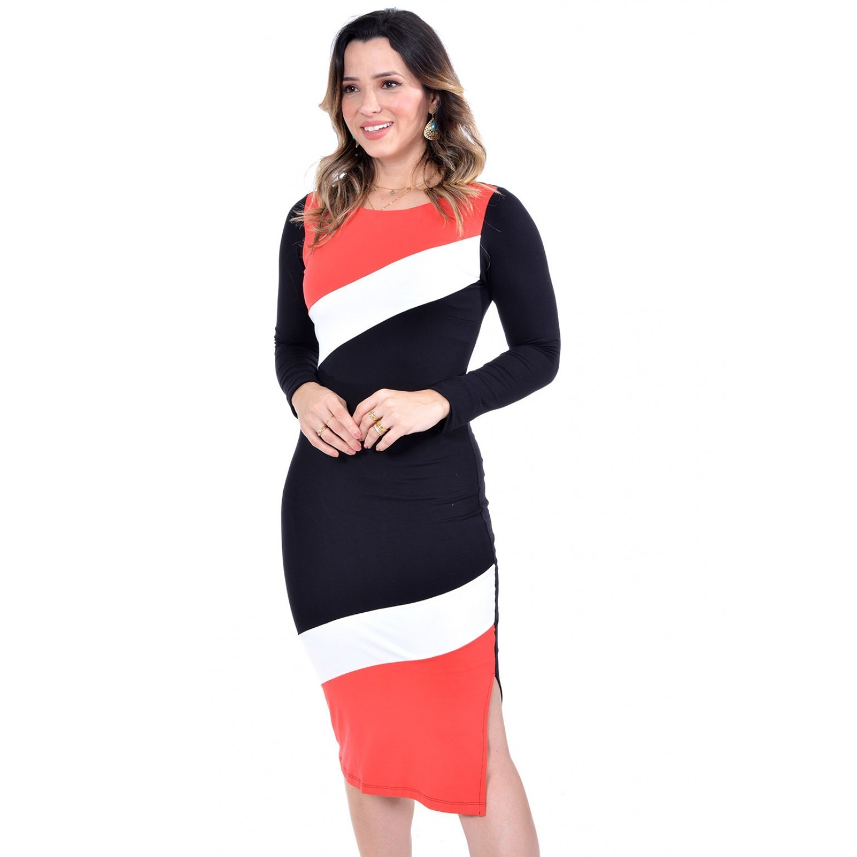 vestido em moletinho tricolor