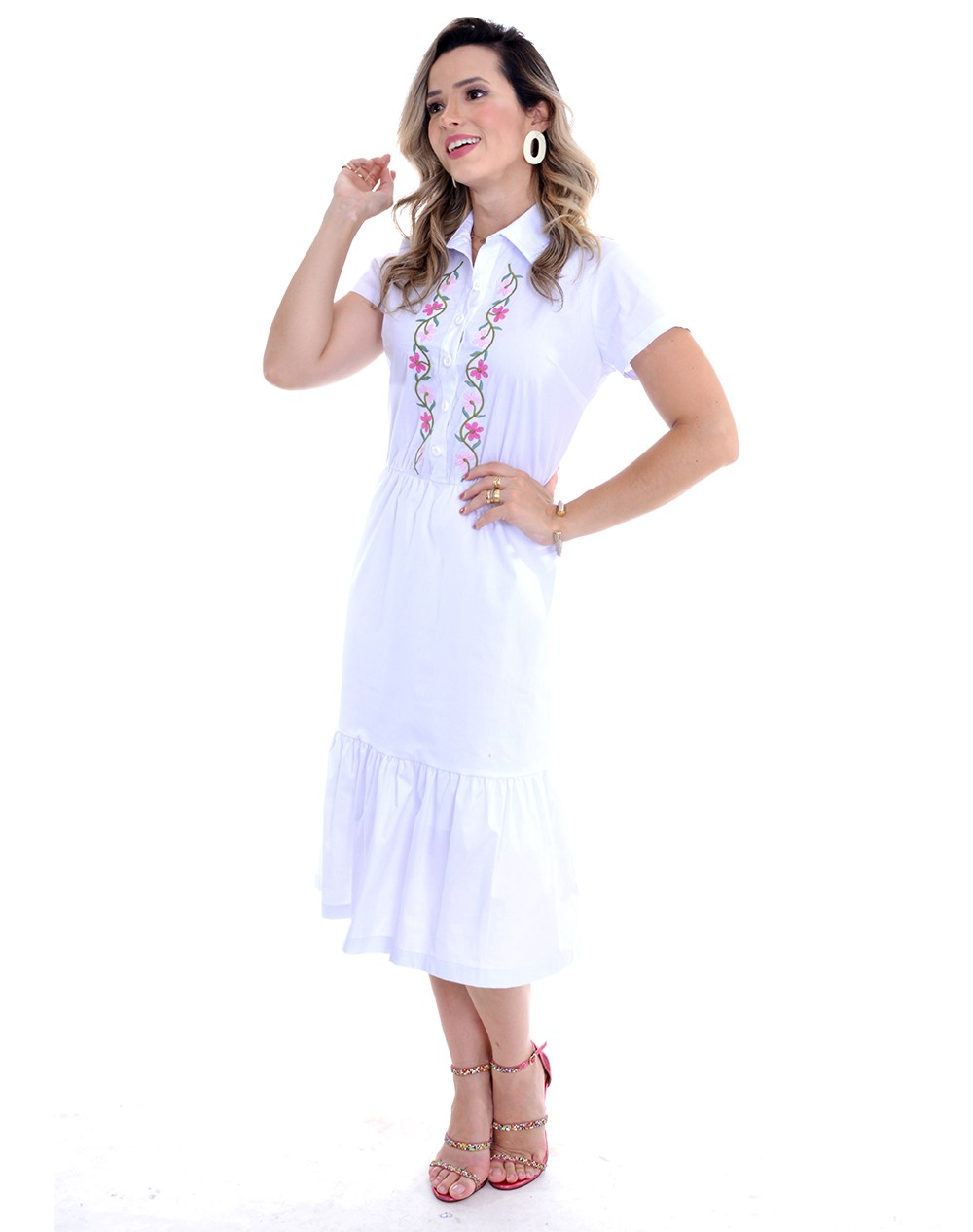 vestido em tricoline