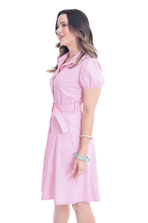 Vestido em tricoline listrada