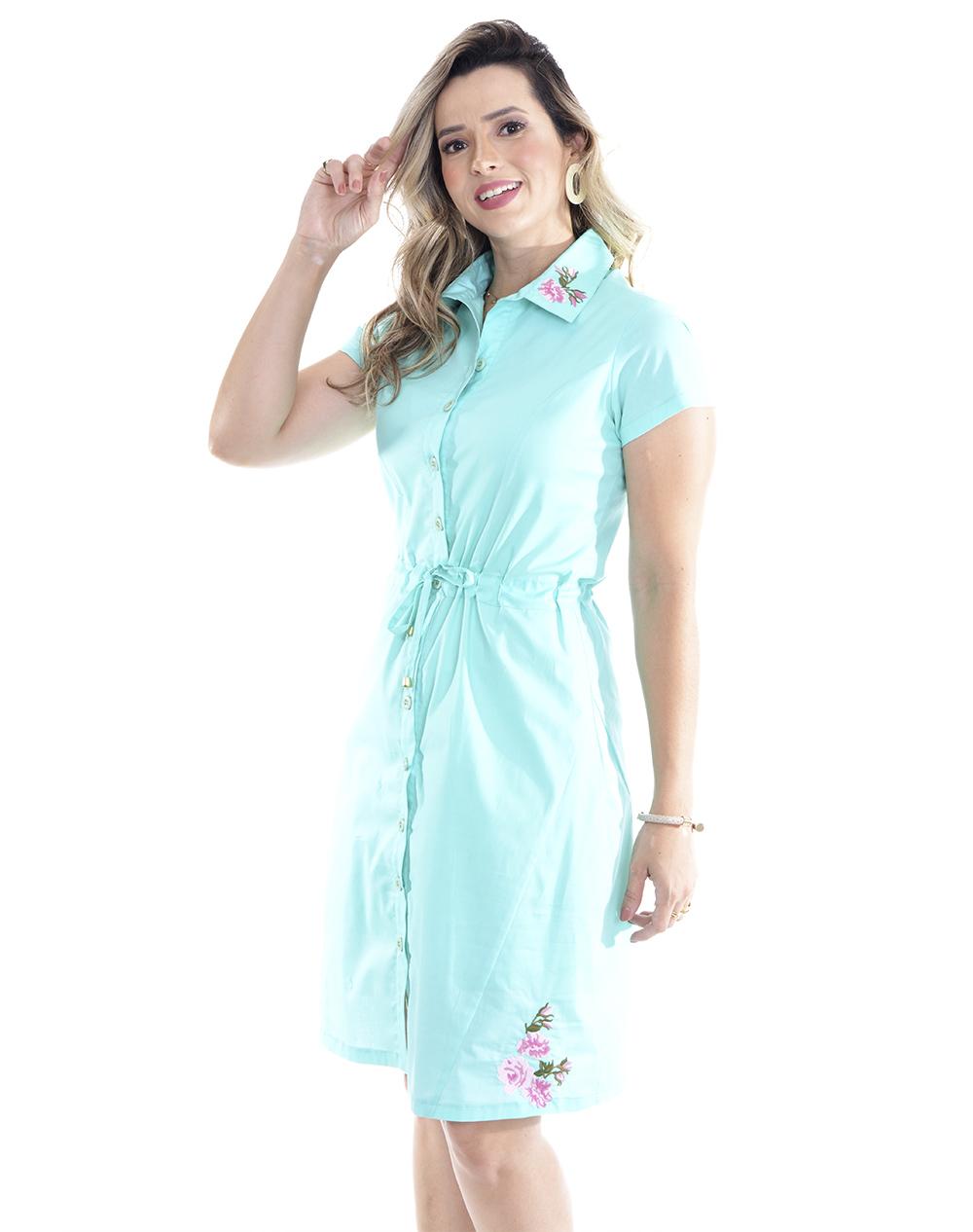 vestido em tricoline, modelagem reta