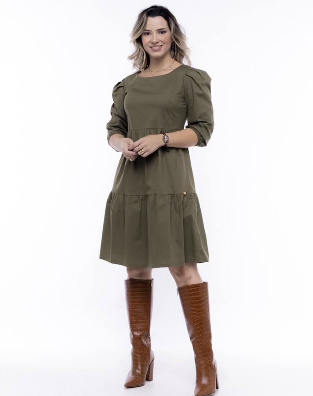 vestido em tricoline, modelagem solta