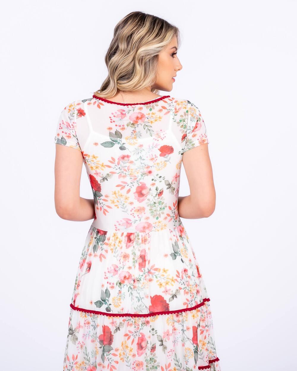 Vestido em Tule Floral, Modelagem Solta