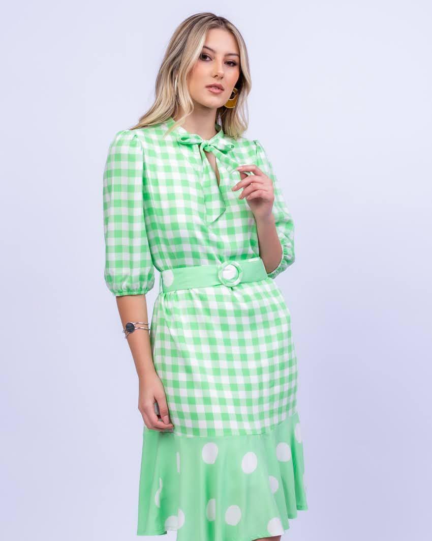 Vestido em Viscolinho Vichy e Poás