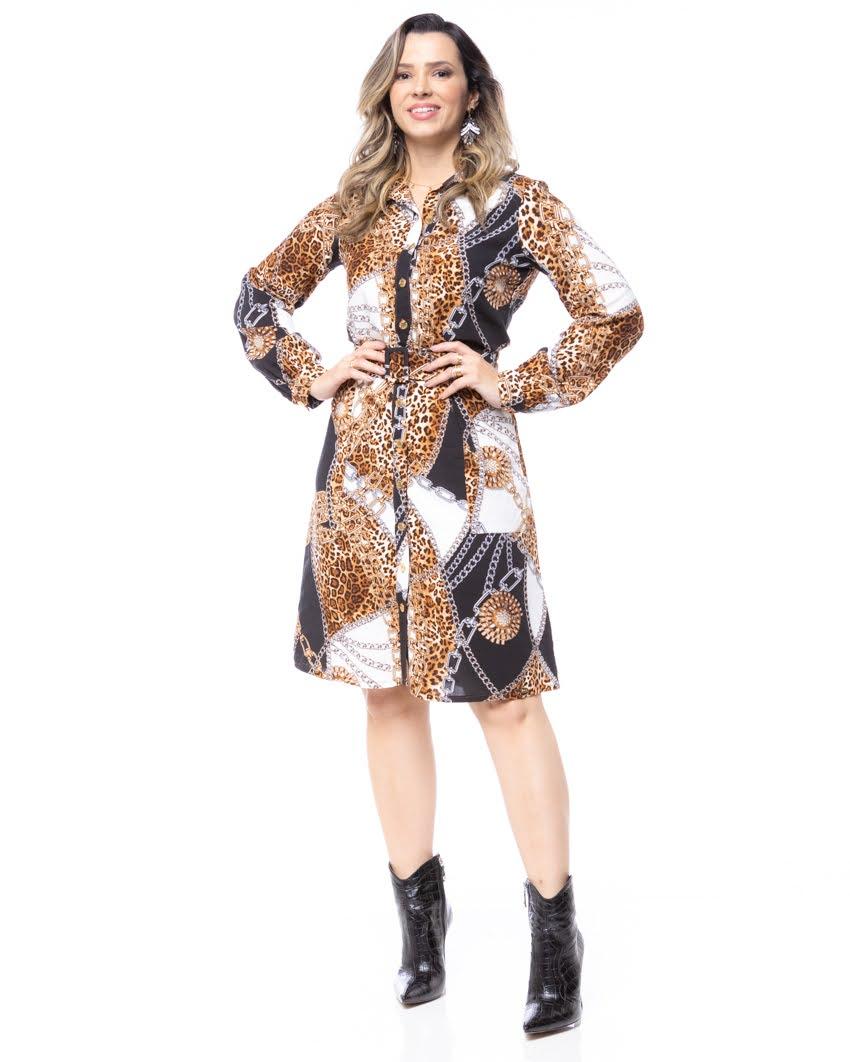 Vestido em Viscose Estampa de Onça e Correntes