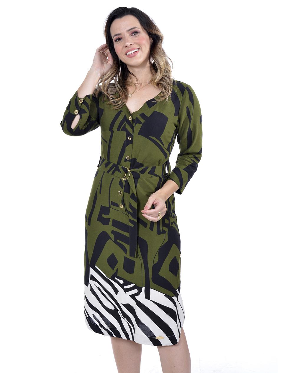 vestido em viscose, estampa de Tigre barraca