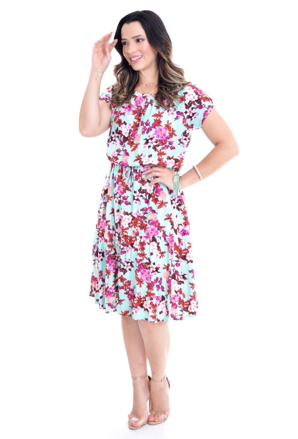 Vestido em viscose floral