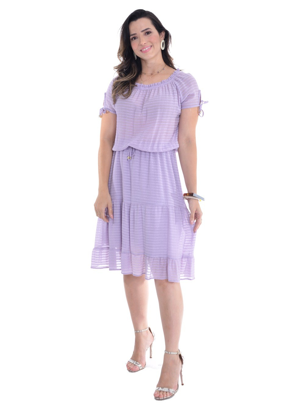 vestido em viscose, modelagem solta