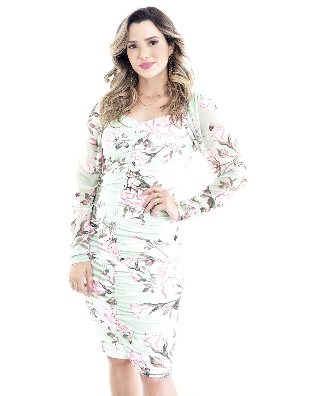 vestido estampado, modelagem justa em suplex