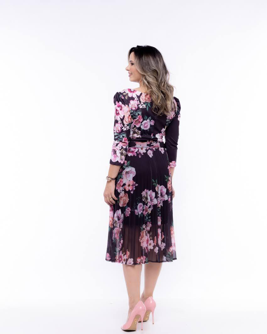 Vestido Floral Plissado com Cinto