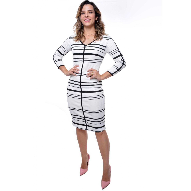 vestido listrado, modelagem justa