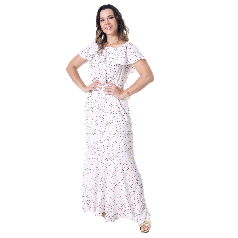 vestido longo em crepe estampado