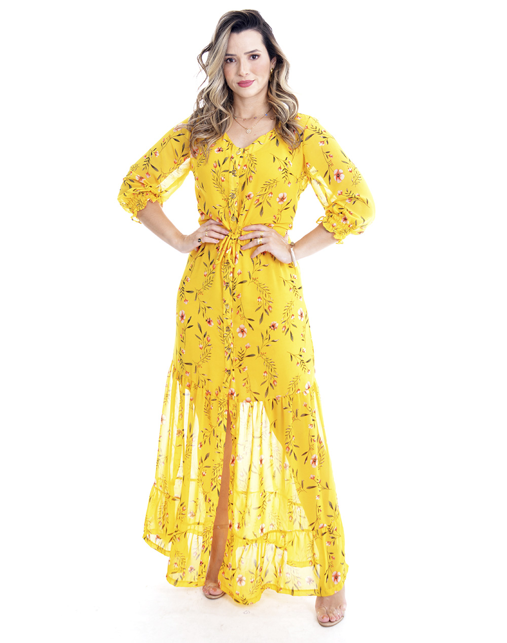 vestido longo em crepe floral