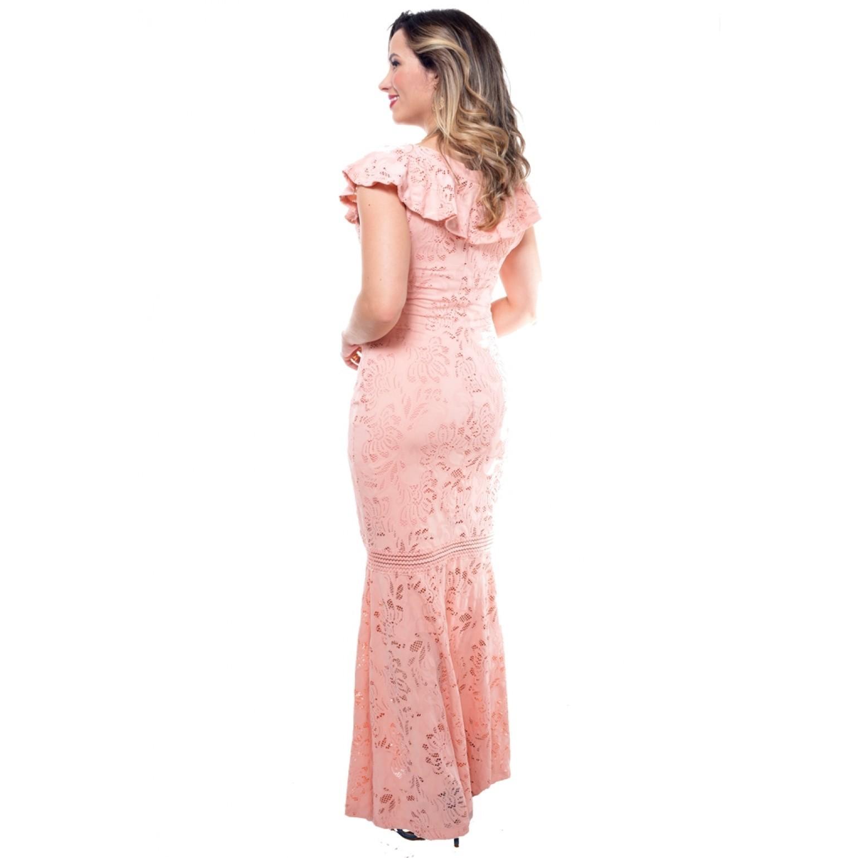 vestido longo em malha rendada