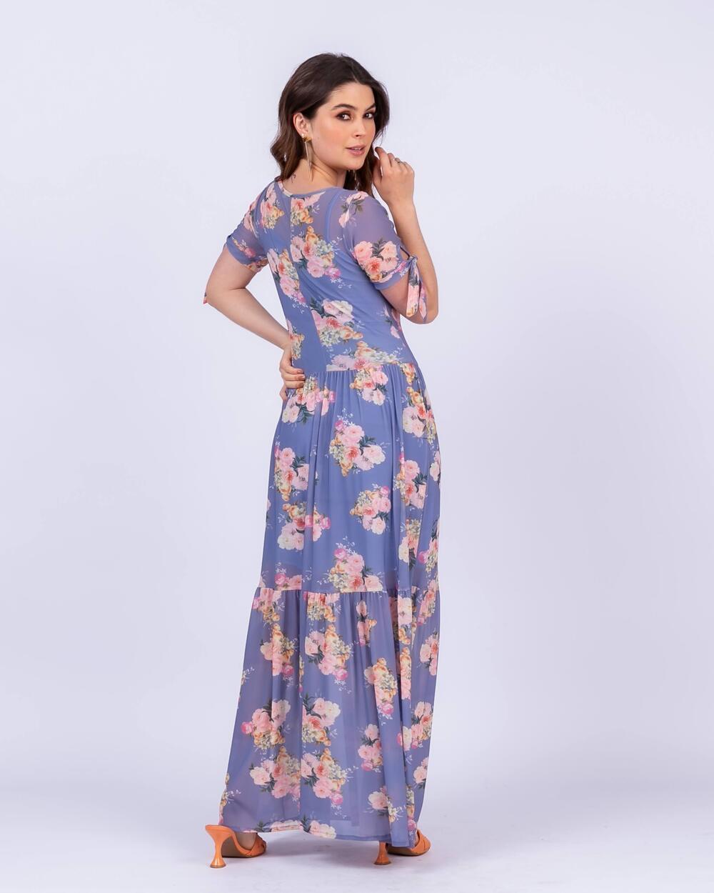 Vestido Longo em Tule Floral