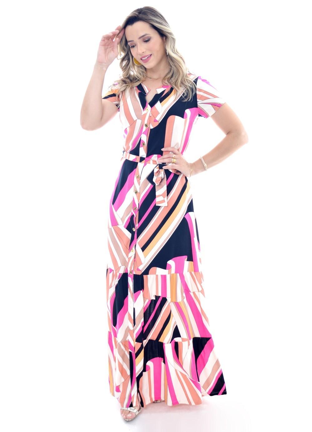 vestido longo em viscose