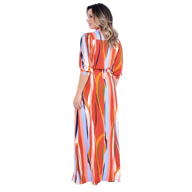 vestido longo em viscose estampada