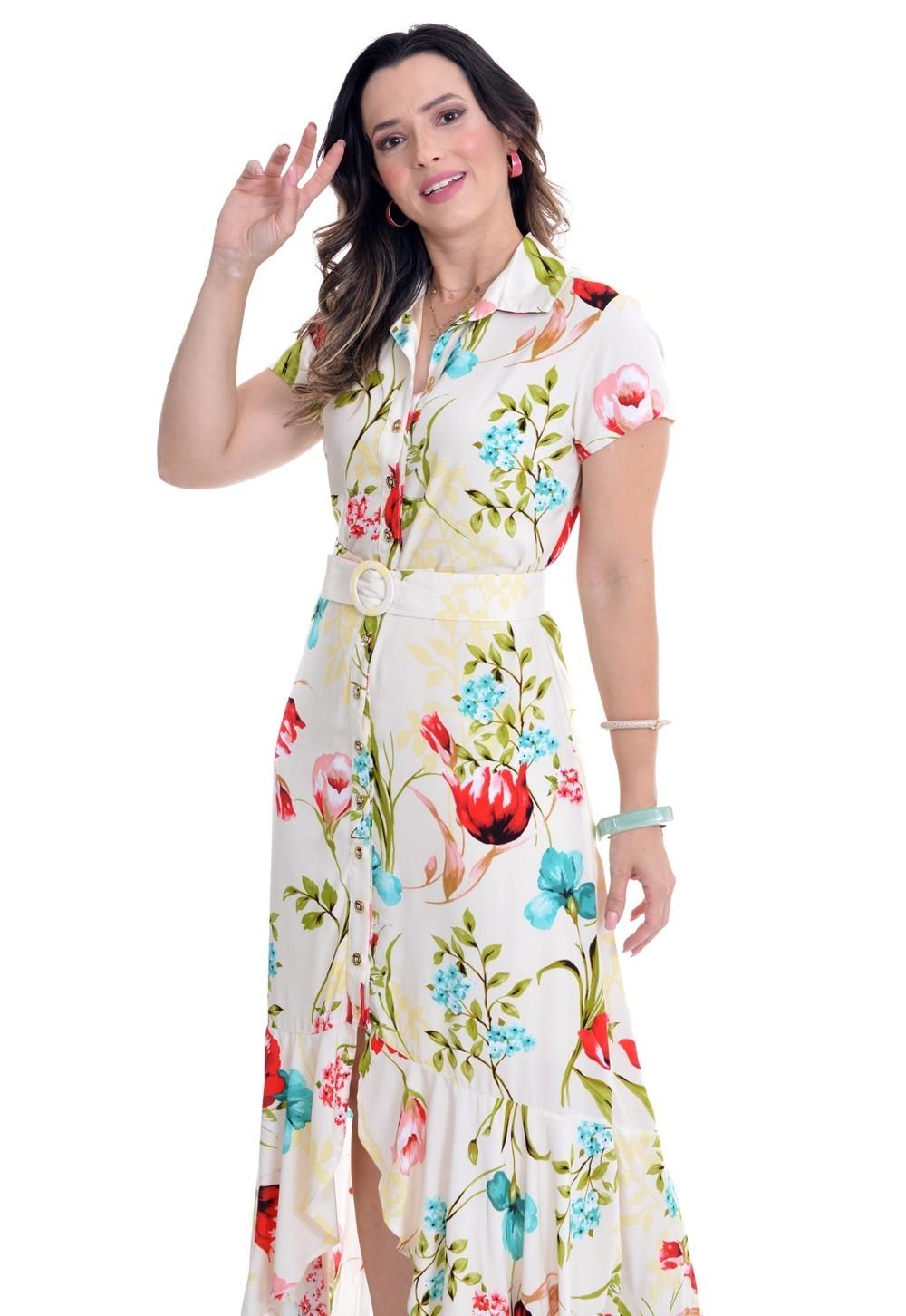 Vestido longo em viscose floral