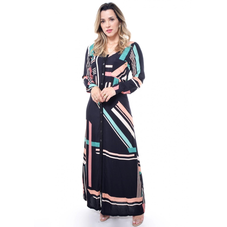 vestido longo em viscose geométrica